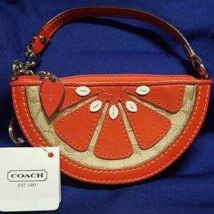 Coach Orange Slice Patent Leather Coin Purse